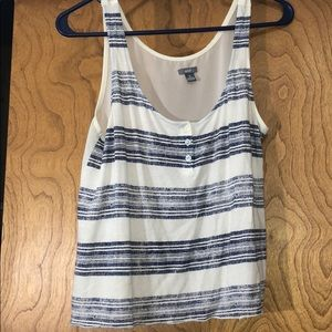 off white and blue striped tank
